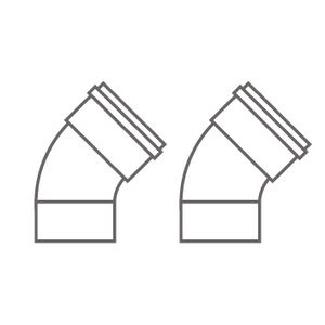5111086   Baxi twin pipe flue 135 deg 80 mm   Baxi